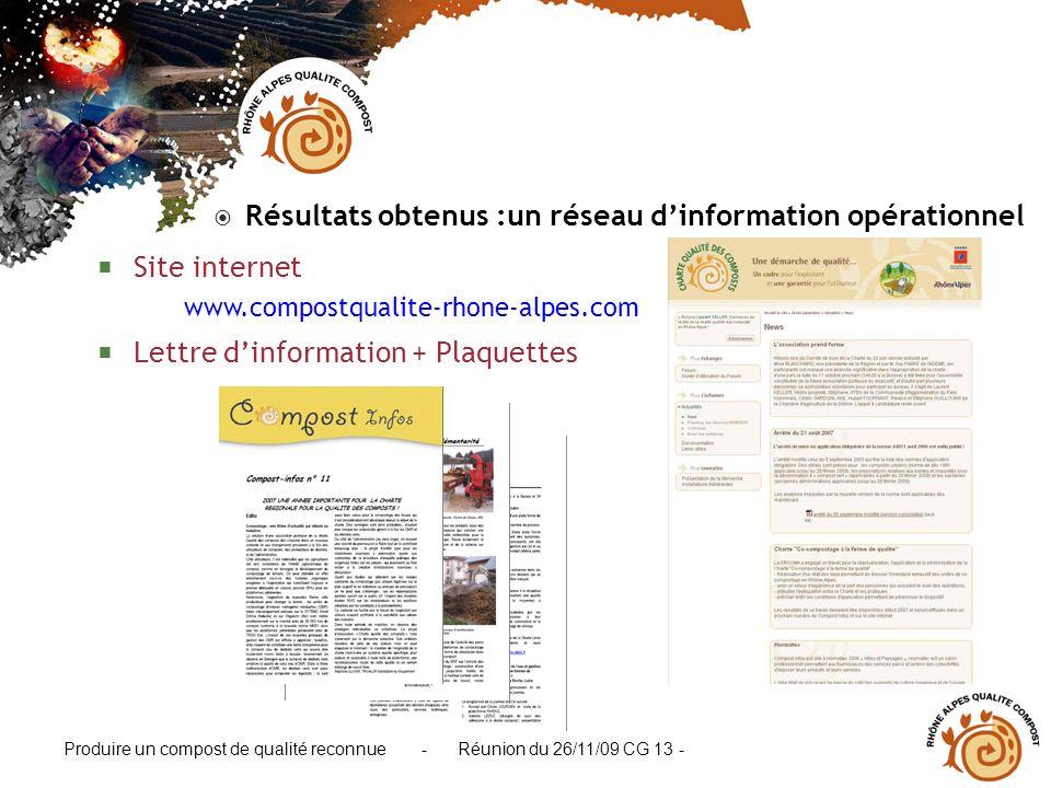 Produire un compost de qualité reconnue - Réunion du 26/11/09 CG 13 - Résultats obtenus :un réseau dinformation opérationnel Site internet www.compost