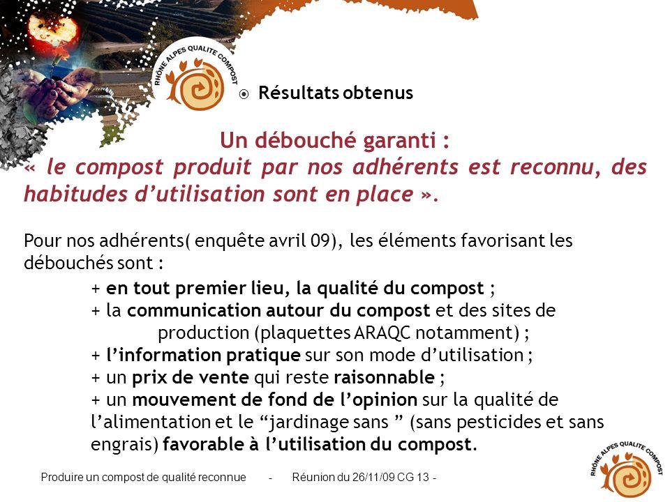 Produire un compost de qualité reconnue - Réunion du 26/11/09 CG 13 - Résultats obtenus Un débouché garanti : « le compost produit par nos adhérents e