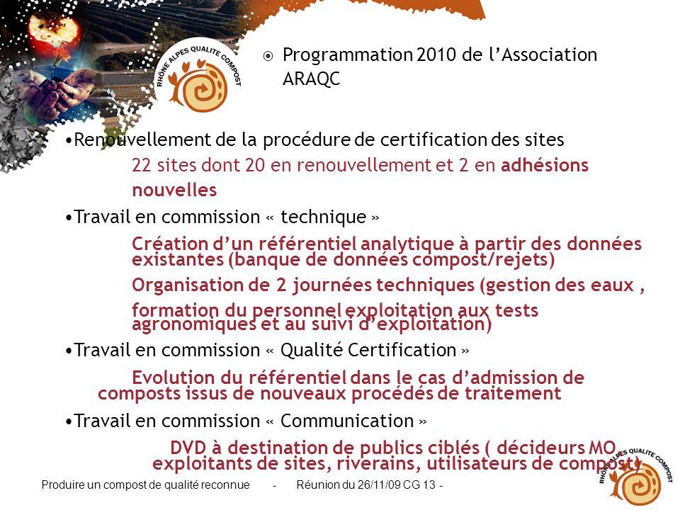 Produire un compost de qualité reconnue - Réunion du 26/11/09 CG 13 - Programmation 2010 de lAssociation ARAQC Renouvellement de la procédure de certi