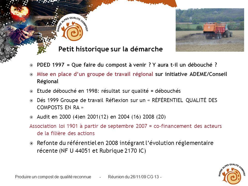 Produire un compost de qualité reconnue - Réunion du 26/11/09 CG 13 - PDED 1997 = Que faire du compost à venir ? Y aura t-il un débouché ? Mise en pla