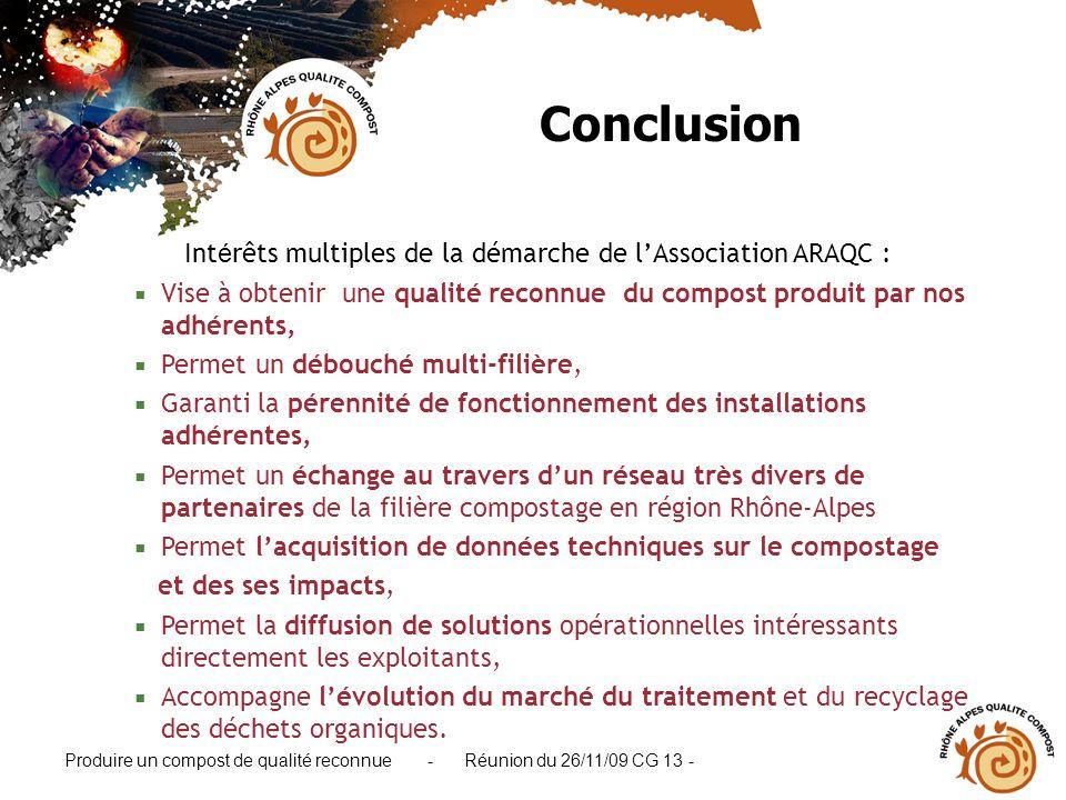 Produire un compost de qualité reconnue - Réunion du 26/11/09 CG 13 - Int é rêts multiples de la démarche de lAssociation ARAQC : Vise à obtenir une q