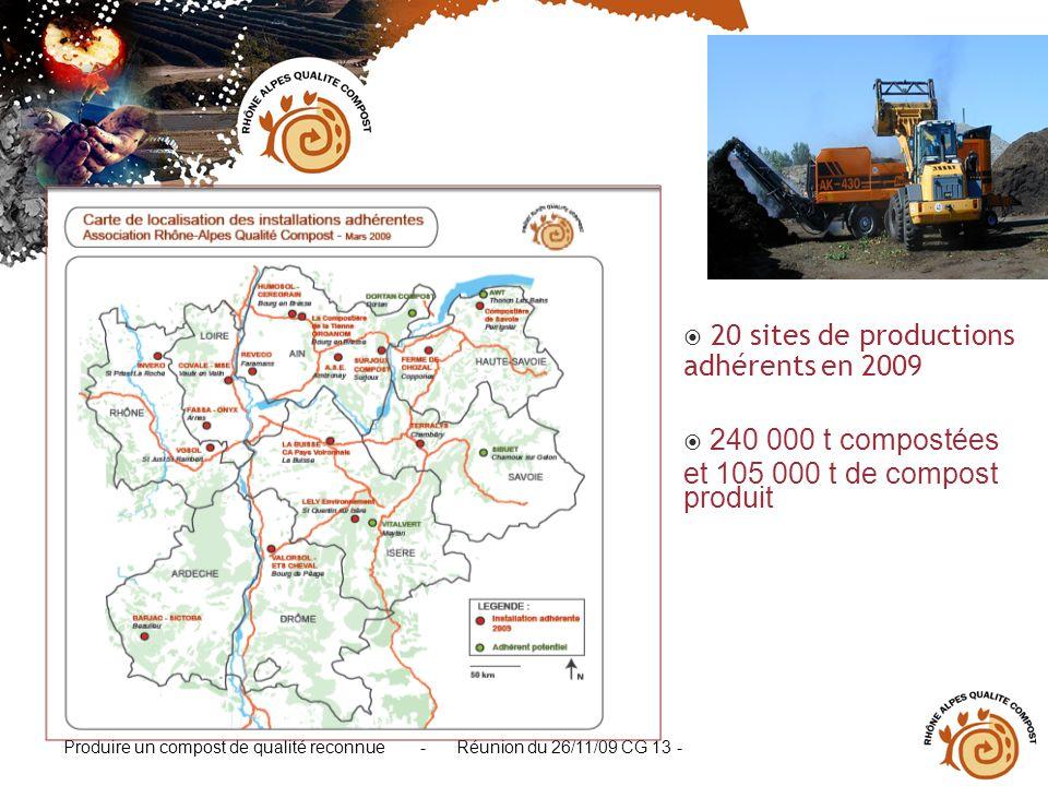 Produire un compost de qualité reconnue - Réunion du 26/11/09 CG 13 - 20 sites de productions adhérents en 2009 240 000 t compostées et 105 000 t de c