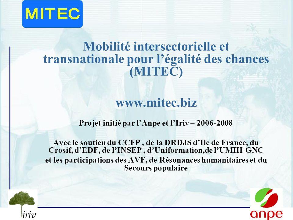 1 Mobilité intersectorielle et transnationale pour légalité des chances (MITEC) www.mitec.biz Projet initié par lAnpe et lIriv – 2006-2008 Avec le soutien du CCFP, de la DRDJS dIle de France, du Crosif, dEDF, de lINSEP, dUniformation,de lUMIH-GNC et les participations des AVF, de Résonances humanitaires et du Secours populaire