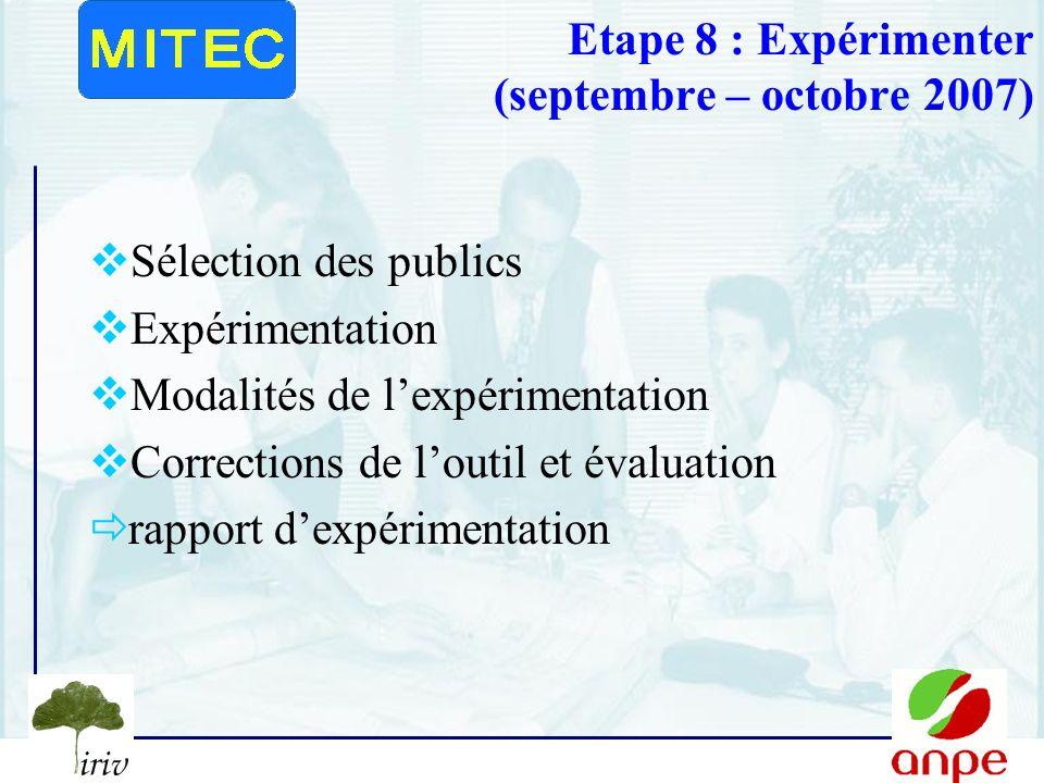 12 Etape 8 : Expérimenter (septembre – octobre 2007) Sélection des publics Expérimentation Modalités de lexpérimentation Corrections de loutil et évaluation rapport dexpérimentation