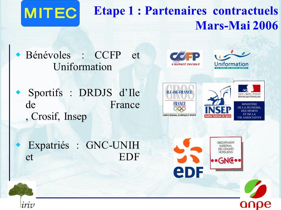 4 Etape 1 : Partenaires contractuels Mars-Mai 2006 Bénévoles : CCFP et Uniformation Sportifs : DRDJS dIle de France, Crosif, Insep Expatriés : GNC-UNIH et EDF
