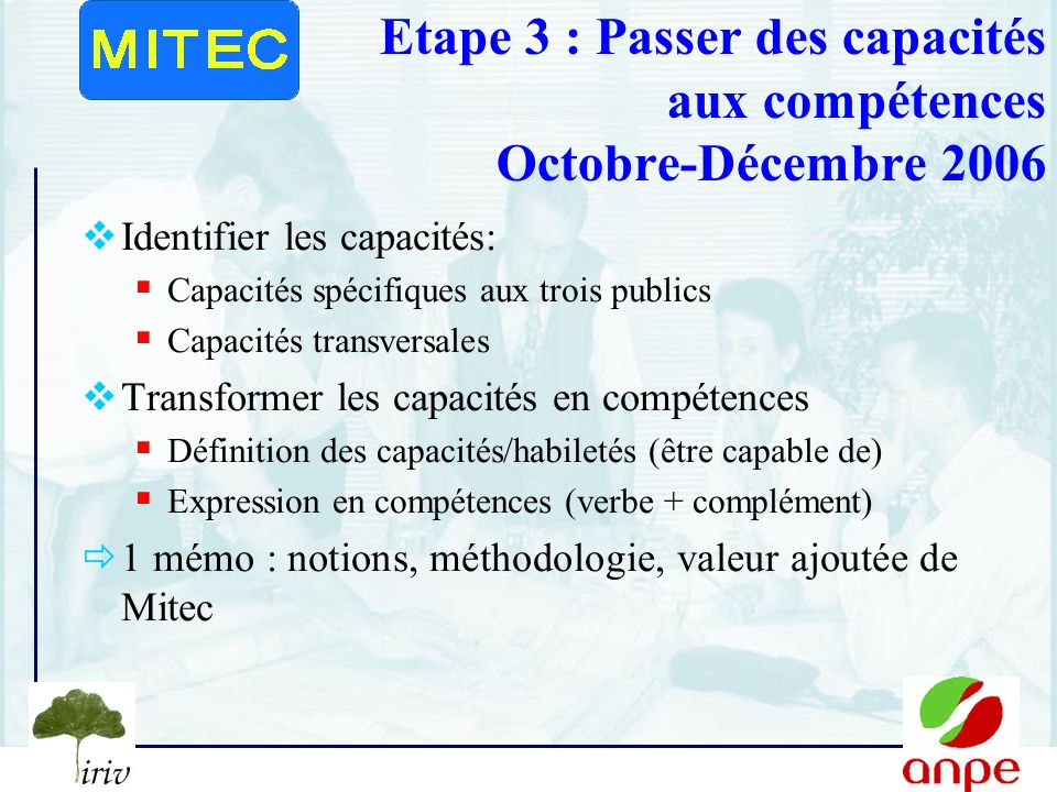 7 Etape 3 : Passer des capacités aux compétences Octobre-Décembre 2006 Identifier les capacités: Capacités spécifiques aux trois publics Capacités transversales Transformer les capacités en compétences Définition des capacités/habiletés (être capable de) Expression en compétences (verbe + complément) 1 mémo : notions, méthodologie, valeur ajoutée de Mitec