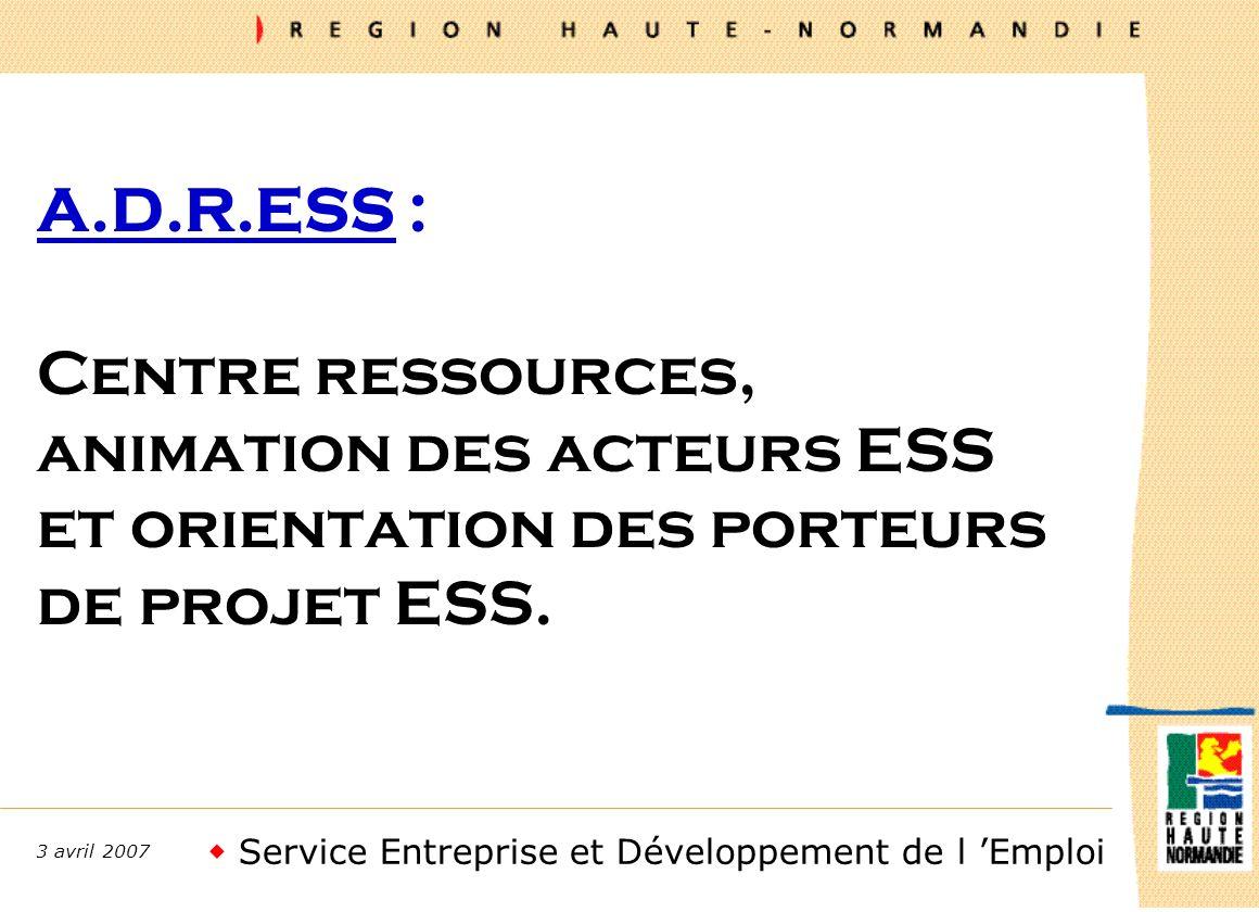 Service Entreprise et Développement de l Emploi 3 avril 2007 A.D.R.ESS : Centre ressources, animation des acteurs ESS et orientation des porteurs de projet ESS.