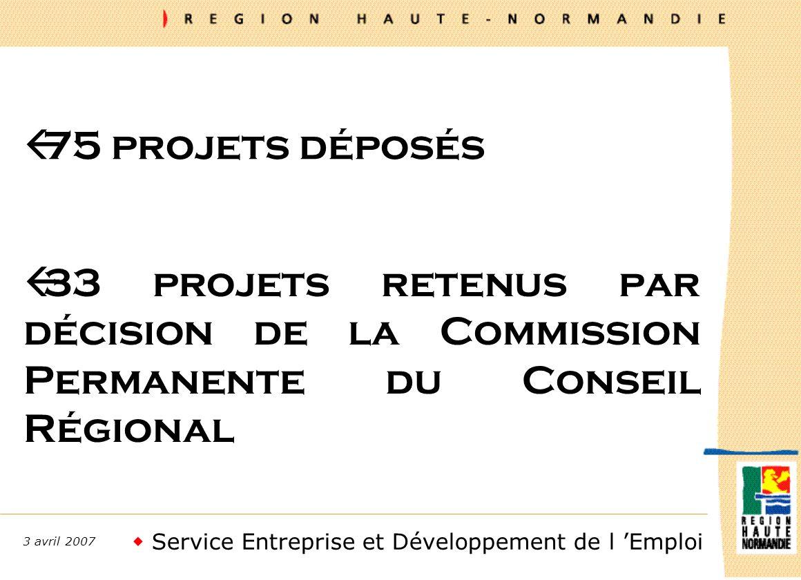 Service Entreprise et Développement de l Emploi 3 avril 2007 ß75 projets déposés ß33 projets retenus par décision de la Commission Permanente du Conseil Régional