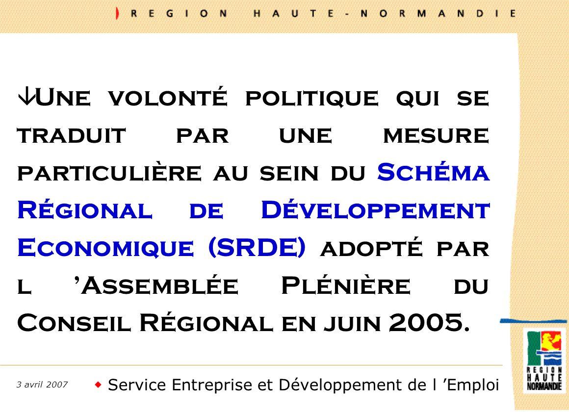 Service Entreprise et Développement de l Emploi 3 avril 2007 â Une volonté politique qui se traduit par une mesure particulière au sein du Schéma Régional de Développement Economique (SRDE) adopté par l Assemblée Plénière du Conseil Régional en juin 2005.