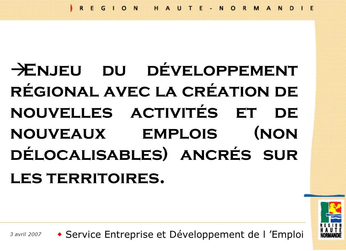 Service Entreprise et Développement de l Emploi 3 avril 2007 à Enjeu du développement régional avec la création de nouvelles activités et de nouveaux emplois (non délocalisables) ancrés sur les territoires.