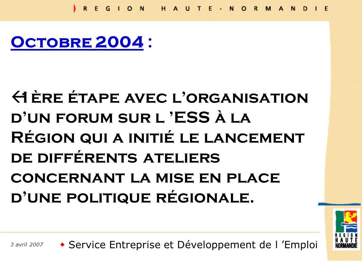 Service Entreprise et Développement de l Emploi 3 avril 2007 Octobre 2004 : ß1ère étape avec lorganisation dun forum sur l ESS à la Région qui a initié le lancement de différents ateliers concernant la mise en place dune politique régionale.