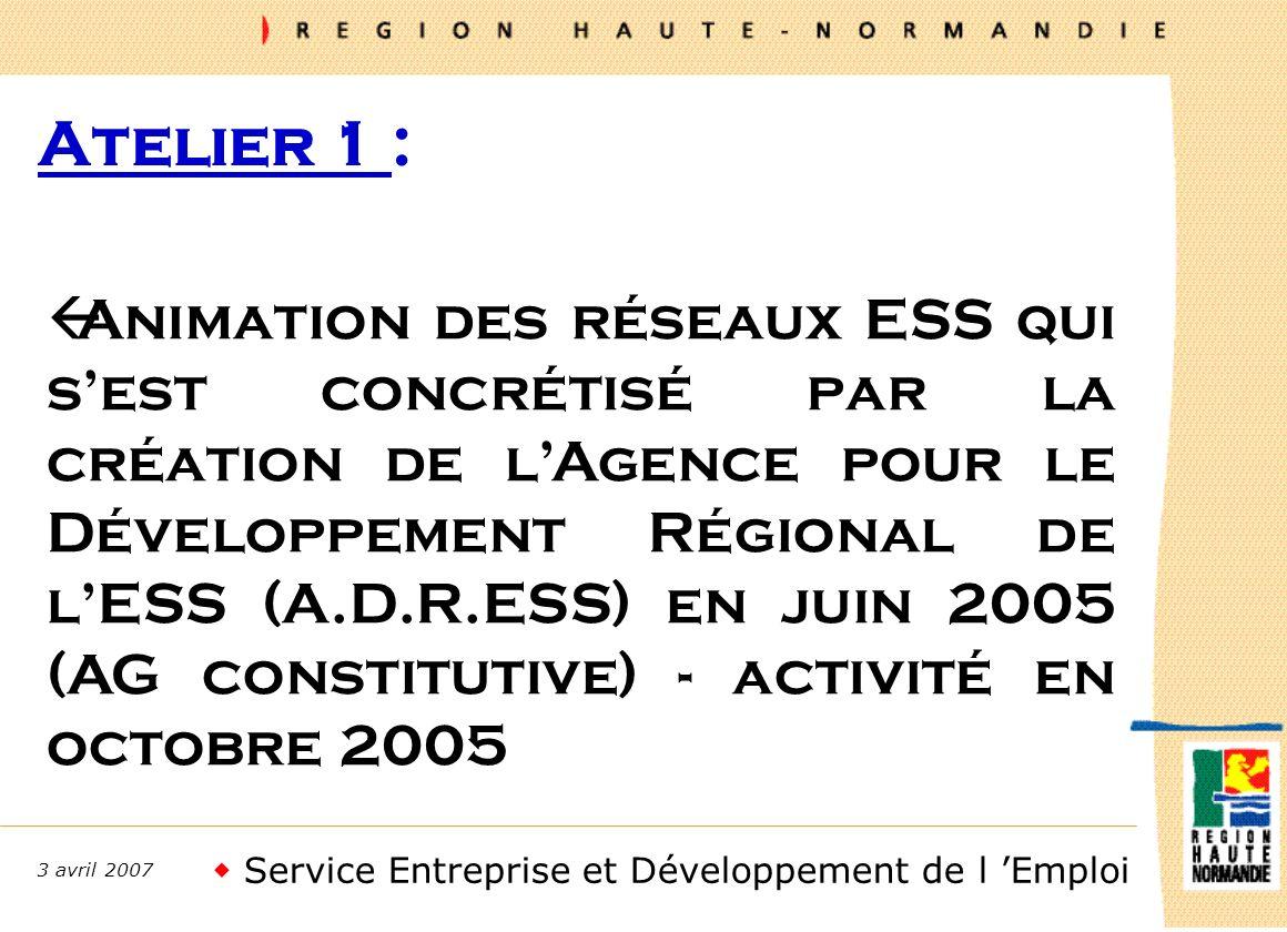 Service Entreprise et Développement de l Emploi 3 avril 2007 Lancement ECO REGION SOLIDAIRE prévu en mai 2007