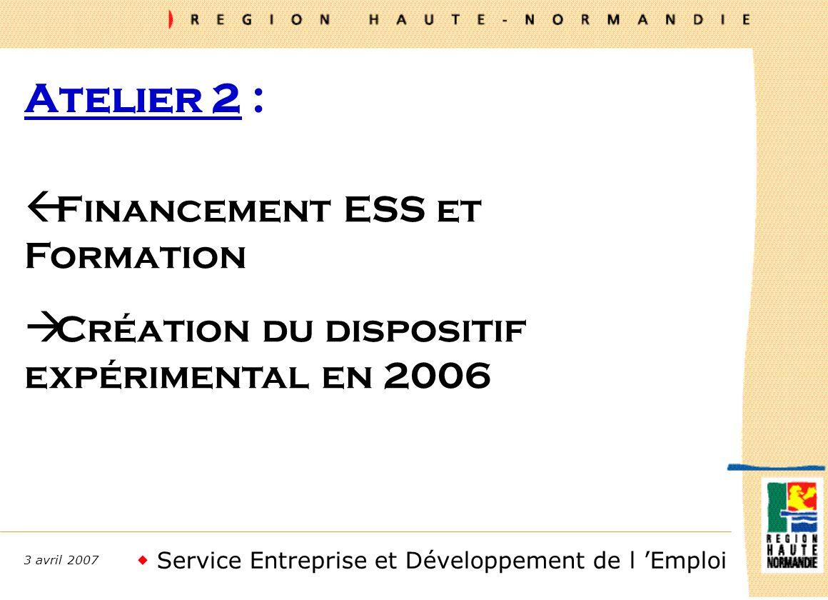 Service Entreprise et Développement de l Emploi 3 avril 2007 Atelier 2 : ß Financement ESS et Formation à Création du dispositif expérimental en 2006