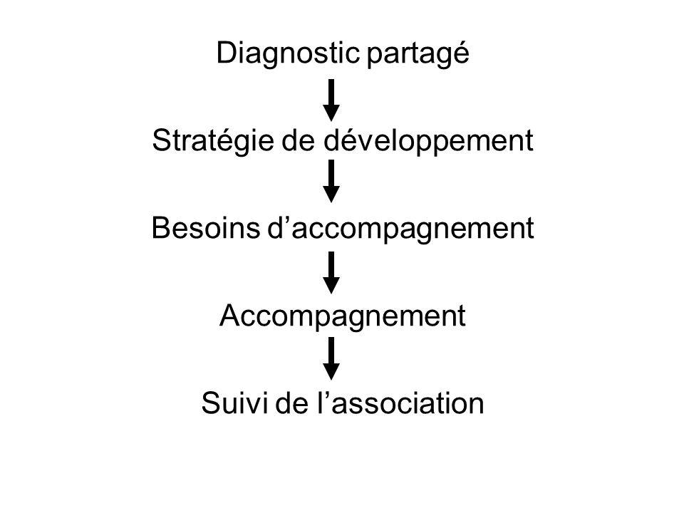 Diagnostic partagé Stratégie de développement Besoins daccompagnement Accompagnement Suivi de lassociation