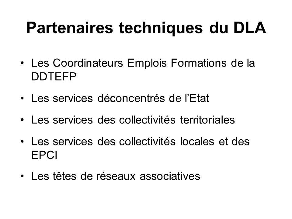 Partenaires techniques du DLA Les Coordinateurs Emplois Formations de la DDTEFP Les services déconcentrés de lEtat Les services des collectivités terr