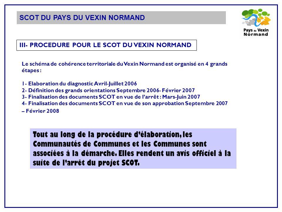 SCOT DU PAYS DU VEXIN NORMAND III- PROCEDURE POUR LE SCOT DU VEXIN NORMAND Le schéma de cohérence territoriale du Vexin Normand est organisé en 4 gran