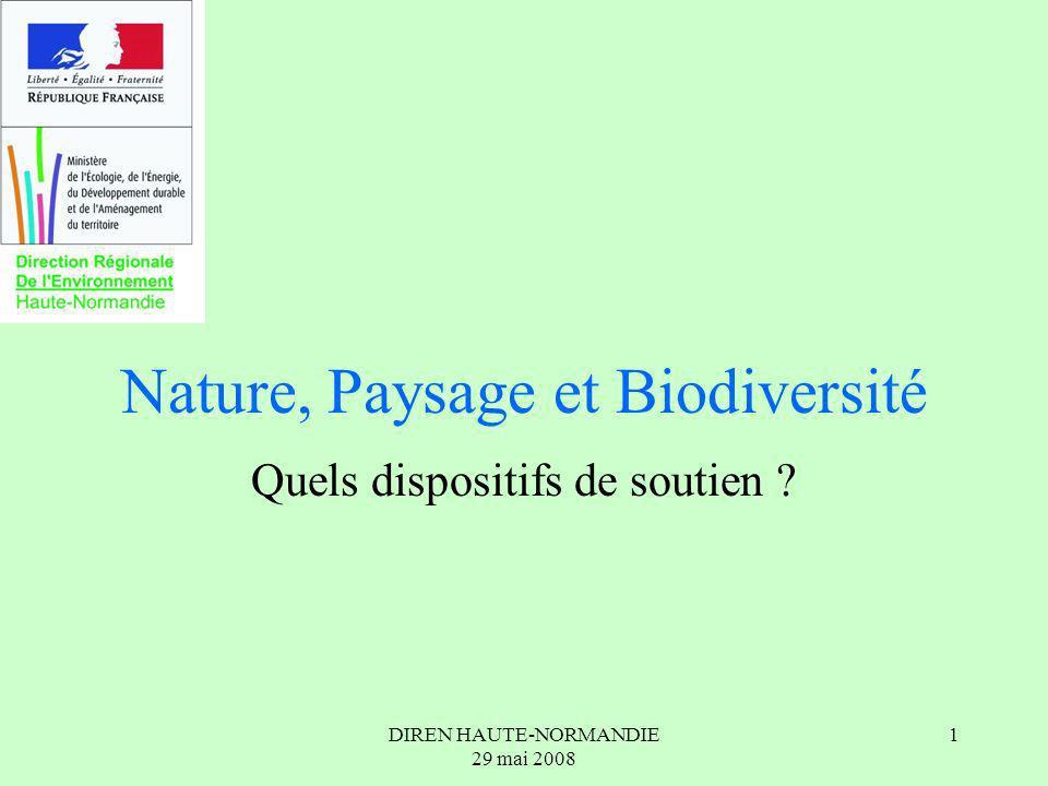 DIREN HAUTE-NORMANDIE 29 mai 2008 2 Nature, Paysages et Biodiversité Contexte : Stratégie Nationale pour la Biodiversité Quelques dispositifs réglementaires Natura 2000 Les aides de lEtat