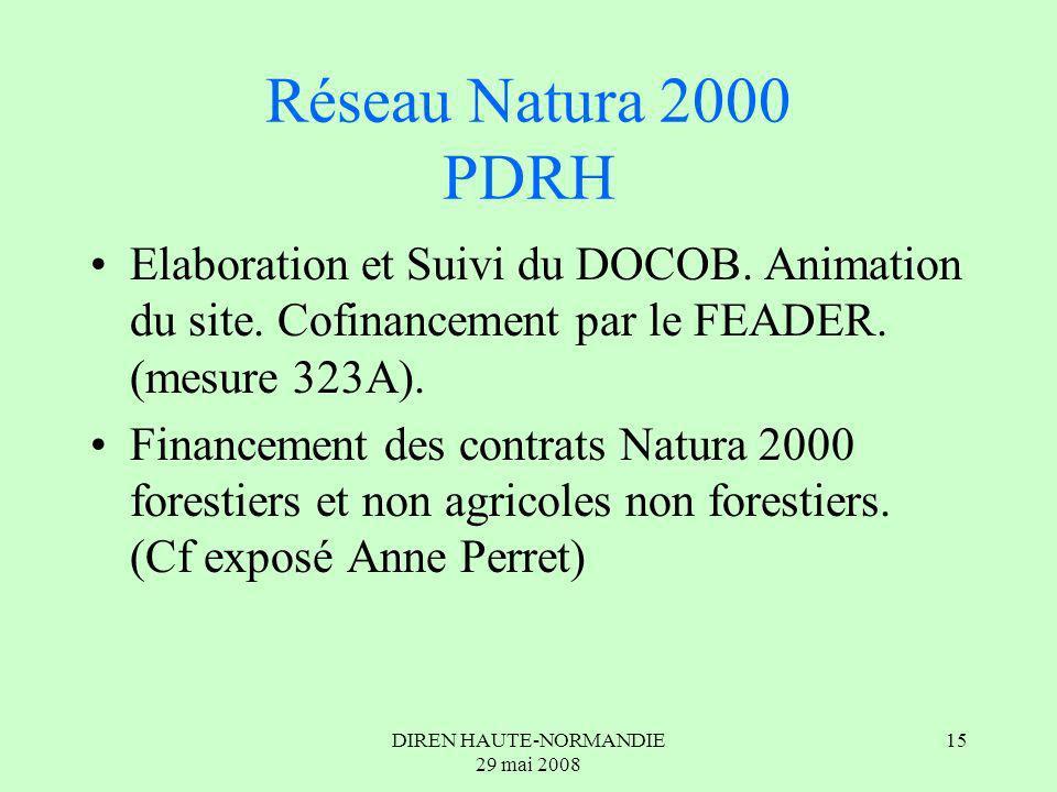 DIREN HAUTE-NORMANDIE 29 mai 2008 15 Réseau Natura 2000 PDRH Elaboration et Suivi du DOCOB.