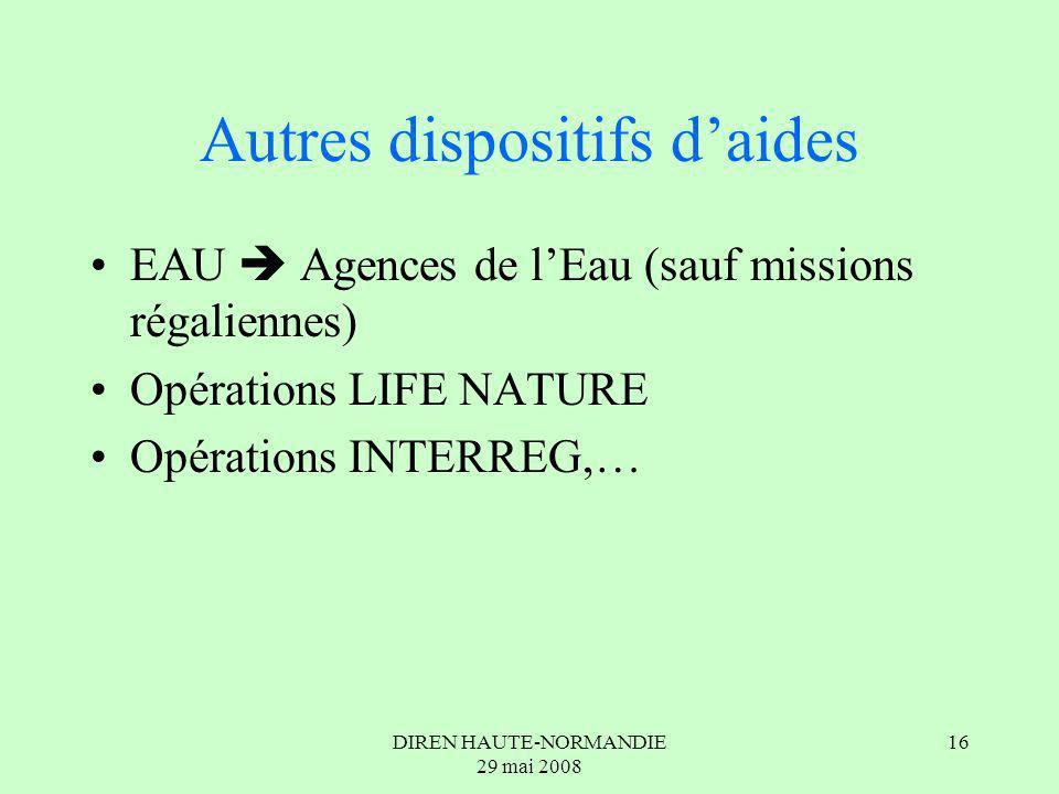 DIREN HAUTE-NORMANDIE 29 mai 2008 16 Autres dispositifs daides EAU Agences de lEau (sauf missions régaliennes) Opérations LIFE NATURE Opérations INTERREG,…