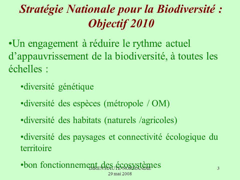 DIREN HAUTE-NORMANDIE 29 mai 2008 3 Stratégie Nationale pour la Biodiversité : Objectif 2010 Un engagement à réduire le rythme actuel dappauvrissement de la biodiversité, à toutes les échelles : diversité génétique diversité des espèces (métropole / OM) diversité des habitats (naturels /agricoles) diversité des paysages et connectivité écologique du territoire bon fonctionnement des écosystèmes