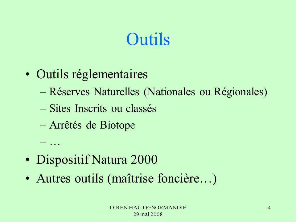 DIREN HAUTE-NORMANDIE 29 mai 2008 4 Outils Outils réglementaires –Réserves Naturelles (Nationales ou Régionales) –Sites Inscrits ou classés –Arrêtés de Biotope –… Dispositif Natura 2000 Autres outils (maîtrise foncière…)