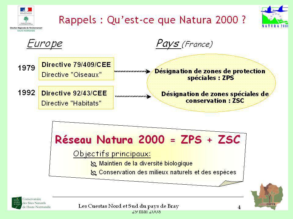 6 Mise en œuvre de Natura 2000 Natura 2000 ne constitue pas une nouvelle réglementation, la réglementation existante sapplique mais avec une vigilance renforcée Choix de lEtat français de favoriser un dispositif contractuel.
