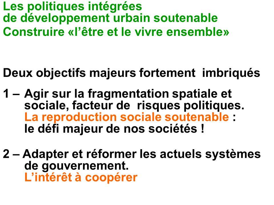 Les politiques intégrées de développement urbain soutenable Construire «lêtre et le vivre ensemble» Deux objectifs majeurs fortement imbriqués 1 – Agi