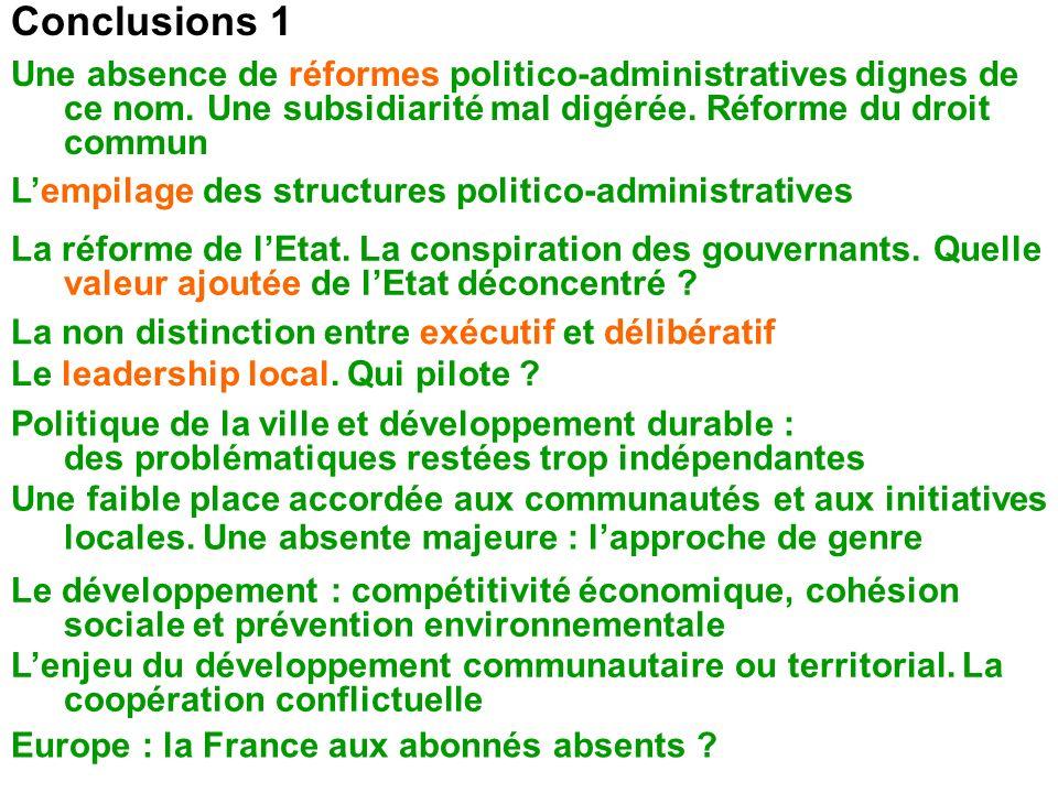 Conclusions 1 Une faible place accordée aux communautés et aux initiatives locales. Une absente majeure : lapproche de genre Une absence de réformes p