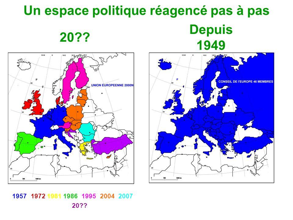 Un espace politique réagencé pas à pas 20?? Depuis 1949 1957197219811986199520042007 20??