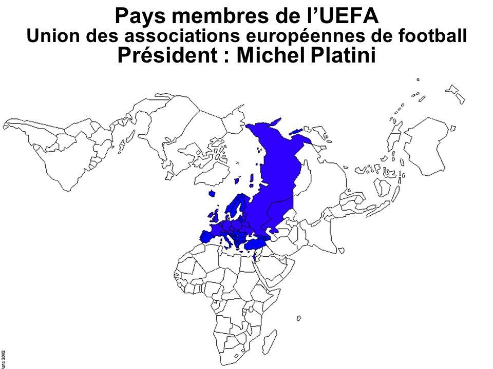 Pays membres de lUEFA Union des associations européennes de football Président : Michel Platini
