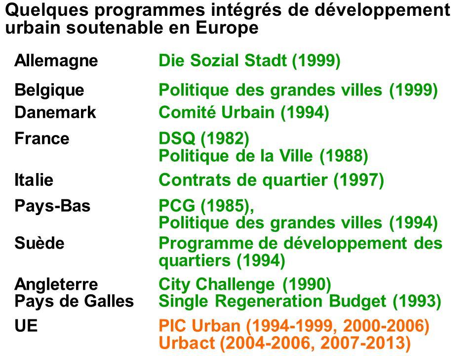 Quelques programmes intégrés de développement urbain soutenable en Europe AllemagneDie Sozial Stadt (1999) BelgiquePolitique des grandes villes (1999)