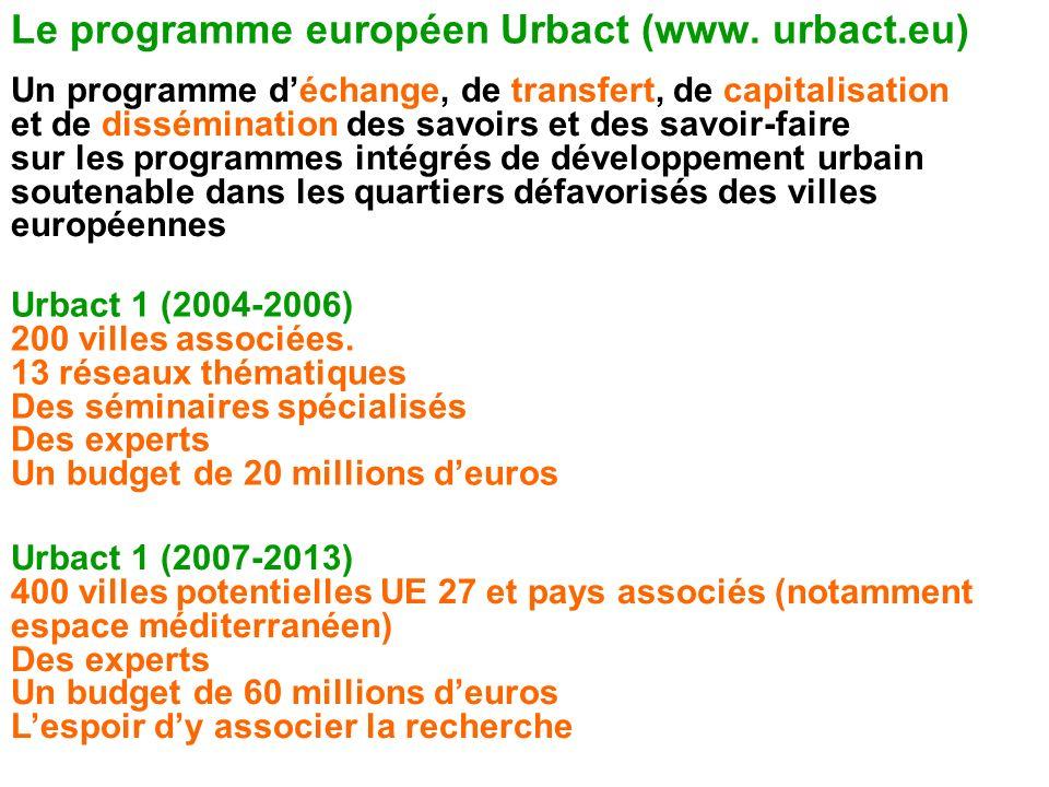Le programme européen Urbact (www. urbact.eu) Un programme déchange, de transfert, de capitalisation et de dissémination des savoirs et des savoir-fai