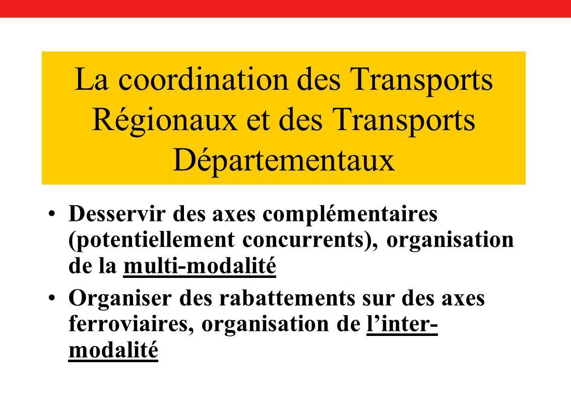 La coordination des Transports Régionaux et des Transports Départementaux Desservir des axes complémentaires (potentiellement concurrents), organisation de la multi-modalité Organiser des rabattements sur des axes ferroviaires, organisation de linter- modalité