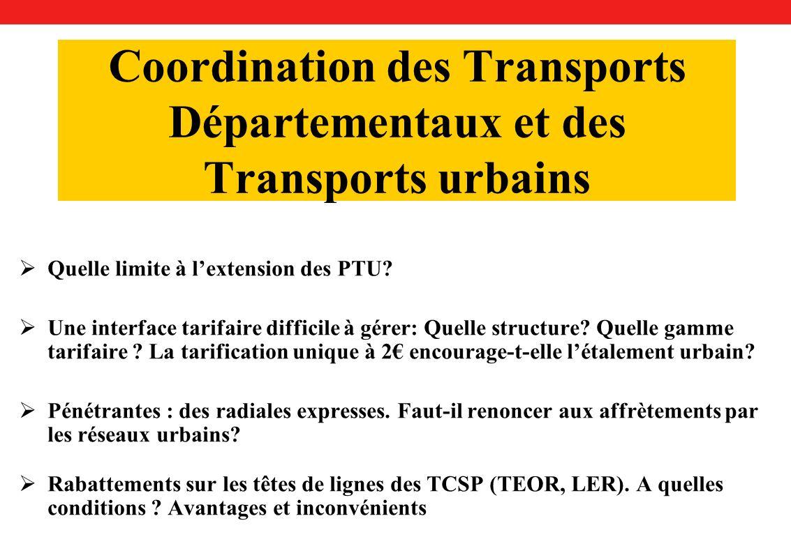 Coordination des Transports Départementaux et des Transports urbains Quelle limite à lextension des PTU.