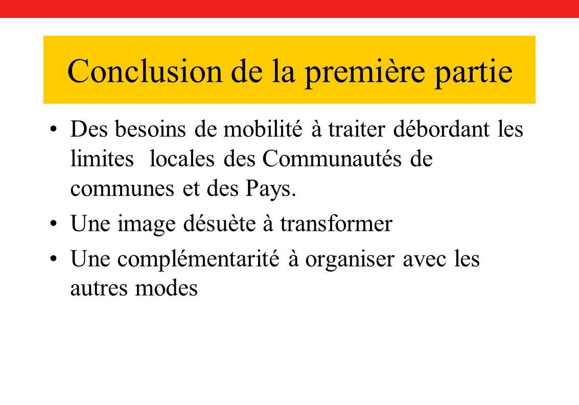 Conclusion de la première partie Des besoins de mobilité à traiter débordant les limites locales des Communautés de communes et des Pays.