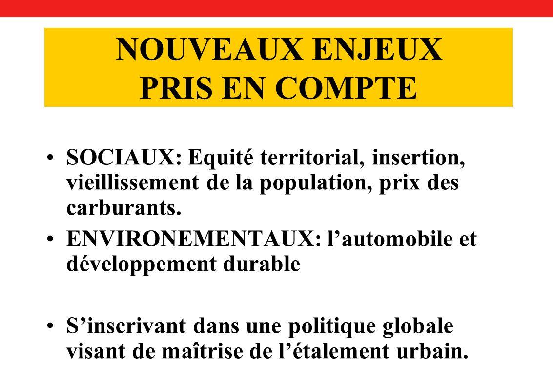 NOUVEAUX ENJEUX PRIS EN COMPTE SOCIAUX: Equité territorial, insertion, vieillissement de la population, prix des carburants.