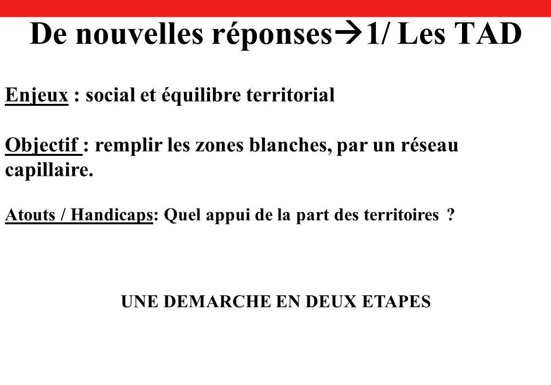 De nouvelles réponses 1/ Les TAD Enjeux : social et équilibre territorial Objectif : remplir les zones blanches, par un réseau capillaire.