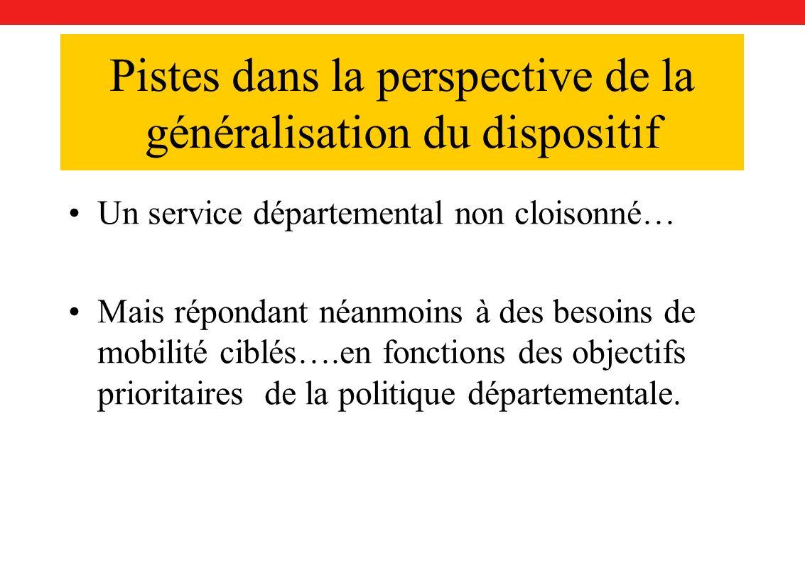 Pistes dans la perspective de la généralisation du dispositif Un service départemental non cloisonné… Mais répondant néanmoins à des besoins de mobilité ciblés….en fonctions des objectifs prioritaires de la politique départementale.