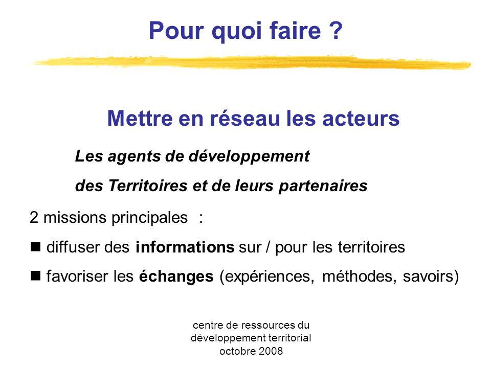 2 missions principales : diffuser des informations sur / pour les territoires favoriser les échanges (expériences, méthodes, savoirs) Pour quoi faire .