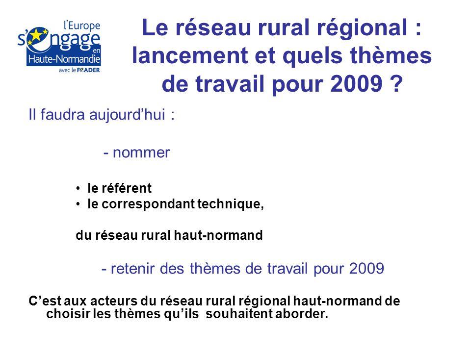 Il faudra aujourdhui : - nommer le référent le correspondant technique, du réseau rural haut-normand - retenir des thèmes de travail pour 2009 Cest aux acteurs du réseau rural régional haut-normand de choisir les thèmes quils souhaitent aborder.