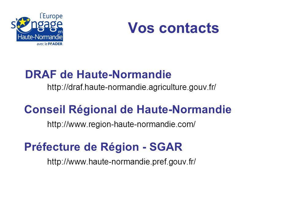 DRAF de Haute-Normandie http://draf.haute-normandie.agriculture.gouv.fr/ Conseil Régional de Haute-Normandie http://www.region-haute-normandie.com/ Préfecture de Région - SGAR http://www.haute-normandie.pref.gouv.fr/ Vos contacts