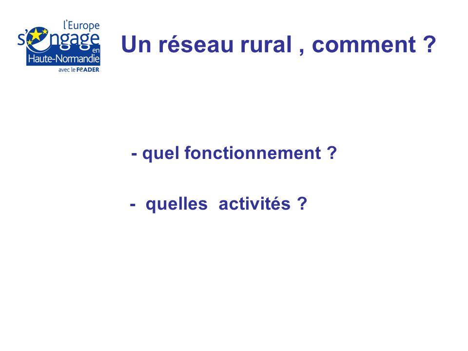 - quel fonctionnement - quelles activités Un réseau rural, comment