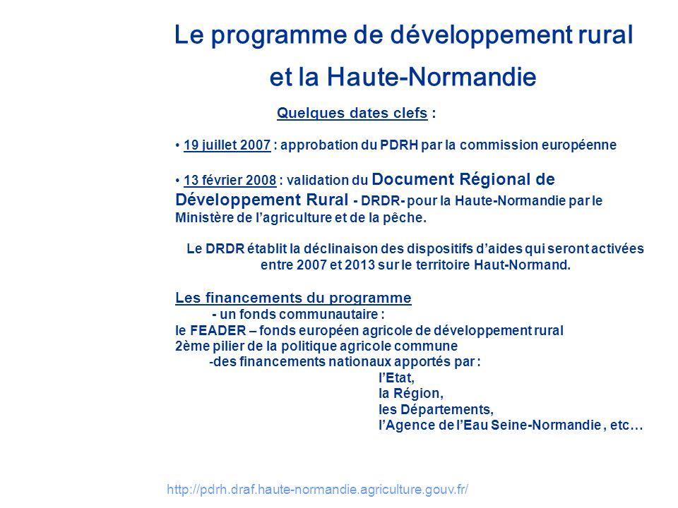 http://pdrh.draf.haute-normandie.agriculture.gouv.fr/ Le programme de développement rural et la Haute-Normandie Quelques dates clefs : 19 juillet 2007