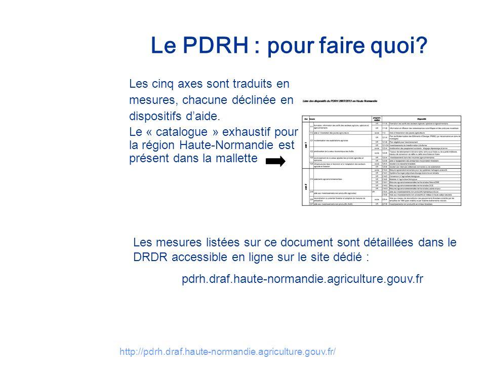 http://pdrh.draf.haute-normandie.agriculture.gouv.fr/ Le PDRH : pour faire quoi? Les cinq axes sont traduits en mesures, chacune déclinée en dispositi