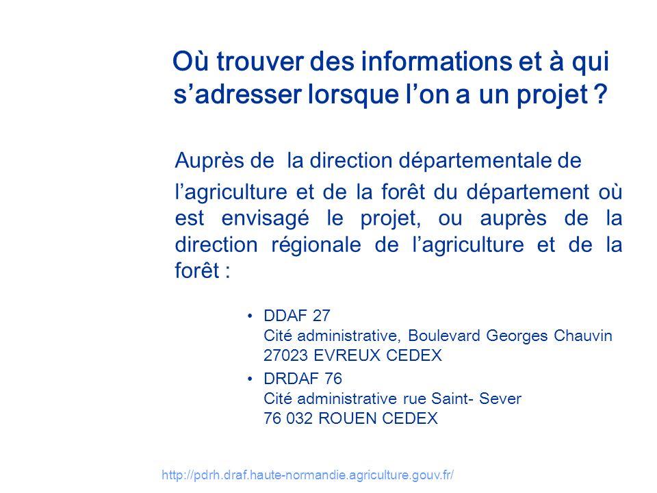 http://pdrh.draf.haute-normandie.agriculture.gouv.fr/ Où trouver des informations et à qui sadresser lorsque lon a un projet ? Auprès de la direction