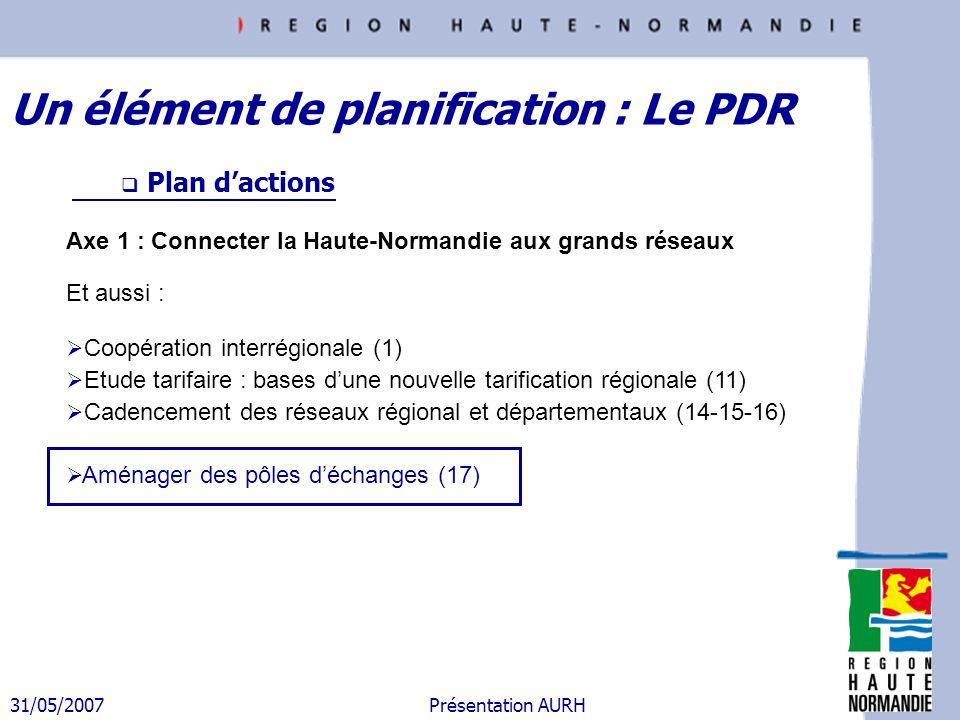 31/05/2007 Présentation AURH Plan dactions Axe 1 : Connecter la Haute-Normandie aux grands réseaux Et aussi : Coopération interrégionale (1) Etude tar