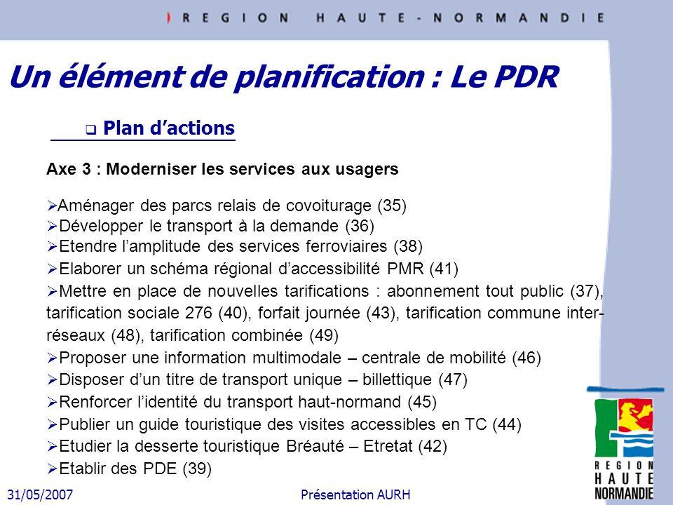31/05/2007 Présentation AURH Plan dactions Axe 3 : Moderniser les services aux usagers Aménager des parcs relais de covoiturage (35) Développer le tra