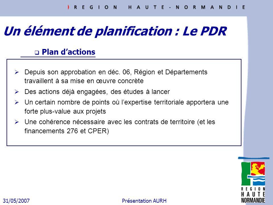 31/05/2007 Présentation AURH Depuis son approbation en déc. 06, Région et Départements travaillent à sa mise en œuvre concrète Des actions déjà engagé
