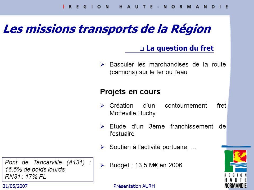 31/05/2007 Présentation AURH Les missions transports de la Région La question du fret Basculer les marchandises de la route (camions) sur le fer ou le