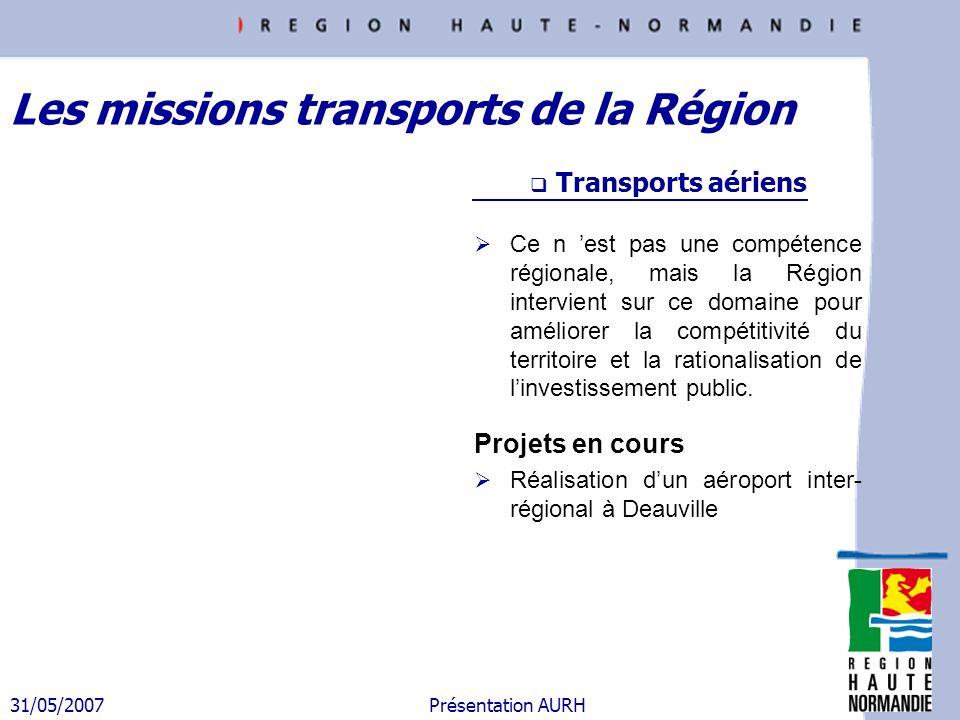 31/05/2007 Présentation AURH Plan dactions Axe 3 : Moderniser les services aux usagers Aménager des parcs relais de covoiturage (35) Développer le transport à la demande (36) Etendre lamplitude des services ferroviaires (38) Elaborer un schéma régional daccessibilité PMR (41) Mettre en place de nouvelles tarifications : abonnement tout public (37), tarification sociale 276 (40), forfait journée (43), tarification commune inter- réseaux (48), tarification combinée (49) Proposer une information multimodale – centrale de mobilité (46) Disposer dun titre de transport unique – billettique (47) Renforcer lidentité du transport haut-normand (45) Publier un guide touristique des visites accessibles en TC (44) Etudier la desserte touristique Bréauté – Etretat (42) Etablir des PDE (39) Un élément de planification : Le PDR